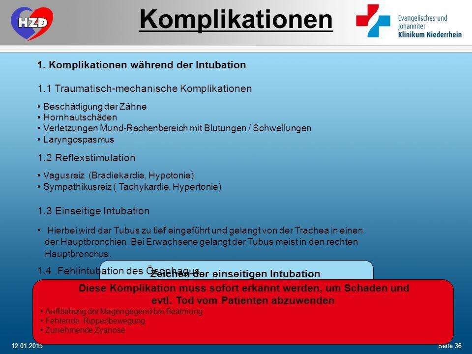 Komplikationen Komplikationen während der Intubation
