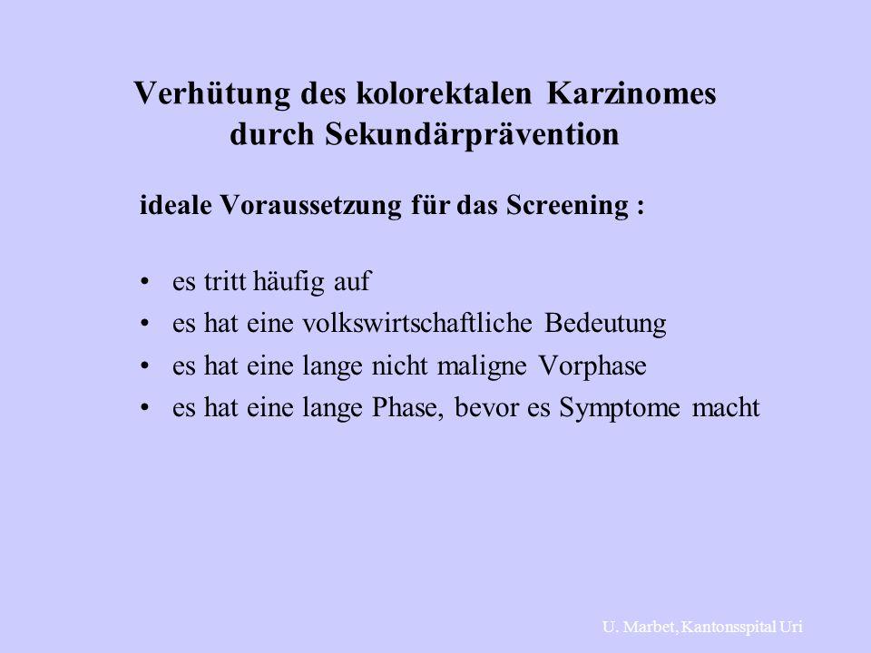 Verhütung des kolorektalen Karzinomes durch Sekundärprävention