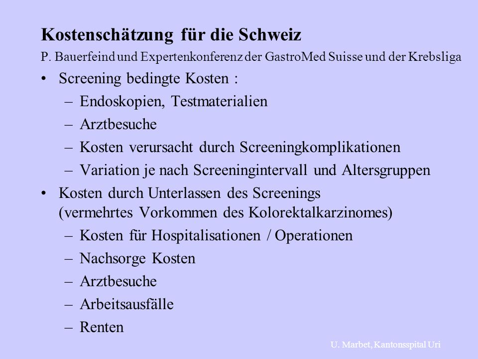 Kostenschätzung für die Schweiz
