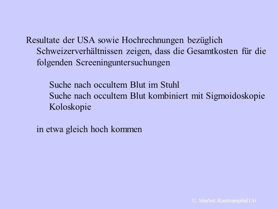 Resultate der USA sowie Hochrechnungen bezüglich Schweizerverhältnissen zeigen, dass die Gesamtkosten für die folgenden Screeninguntersuchungen Suche nach occultem Blut im Stuhl Suche nach occultem Blut kombiniert mit Sigmoidoskopie Koloskopie in etwa gleich hoch kommen