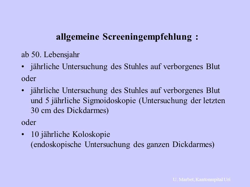 allgemeine Screeningempfehlung :