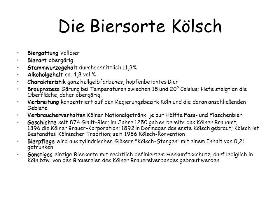 Die Biersorte Kölsch Biergattung Vollbier Bierart obergärig