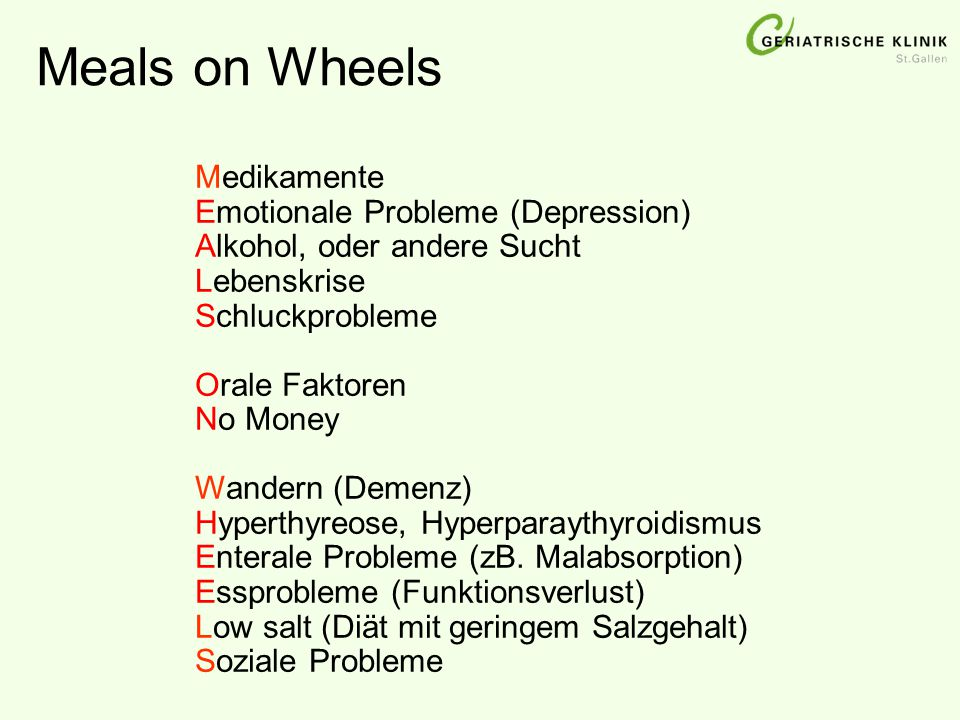 Meals on Wheels Medikamente Emotionale Probleme (Depression)