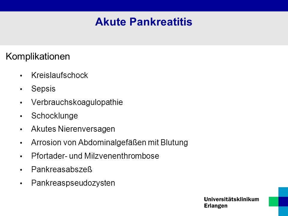 Akute Pankreatitis Komplikationen Kreislaufschock Sepsis