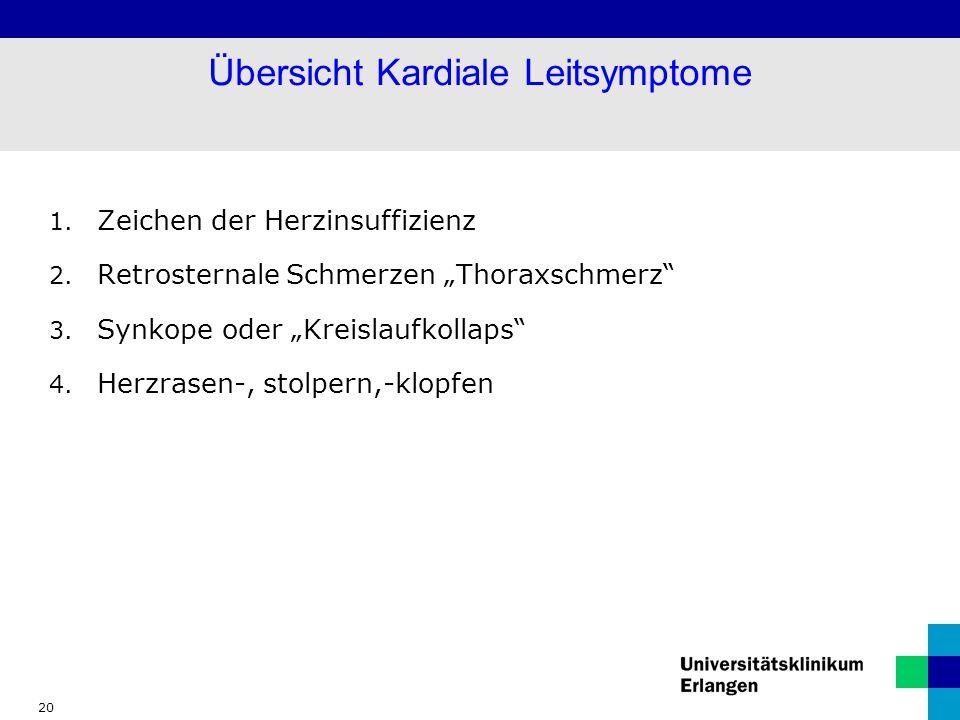 Übersicht Kardiale Leitsymptome