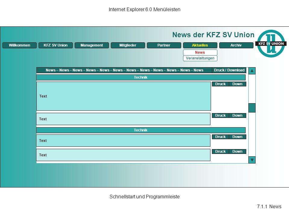 News der KFZ SV Union Internet Explorer 6.0 Menüleisten