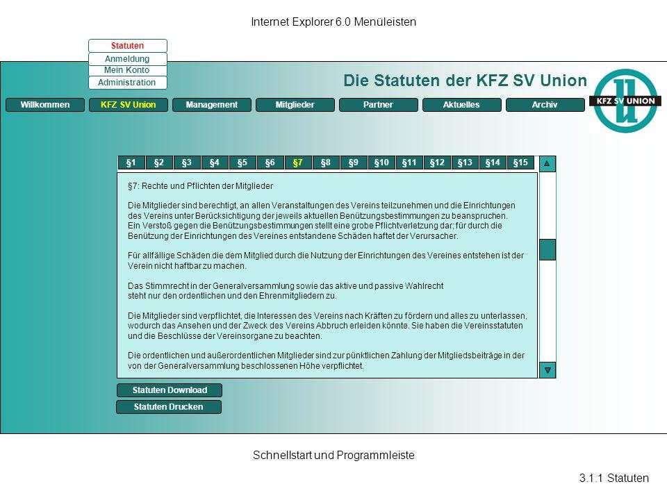 Die Statuten der KFZ SV Union