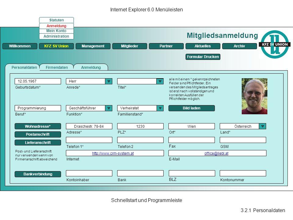Mitgliedsanmeldung Internet Explorer 6.0 Menüleisten