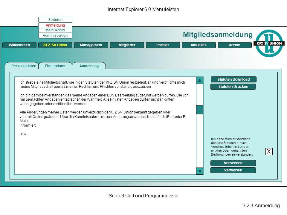 Mitgliedsanmeldung X Internet Explorer 6.0 Menüleisten