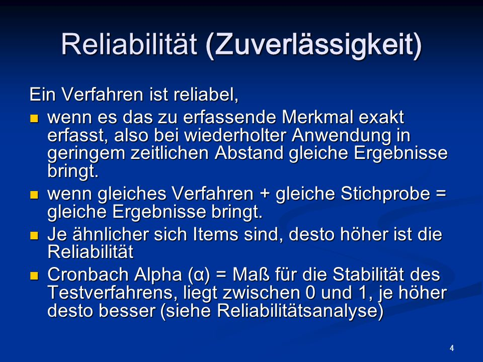 Reliabilität (Zuverlässigkeit)