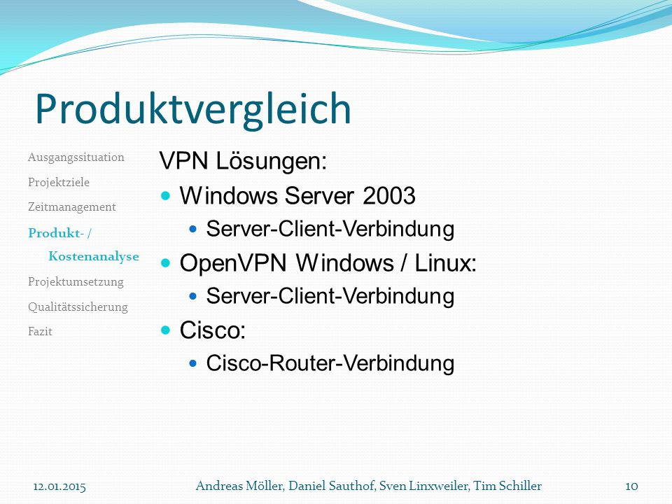 Produktvergleich VPN Lösungen: Windows Server 2003