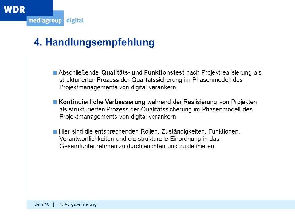 4. Handlungsempfehlung Abschließende Qualitäts- und Funktionstest nach Projektrealisierung als.