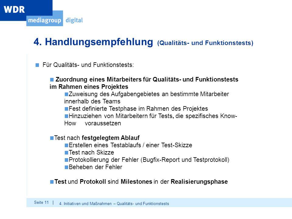 4. Handlungsempfehlung (Qualitäts- und Funktionstests)