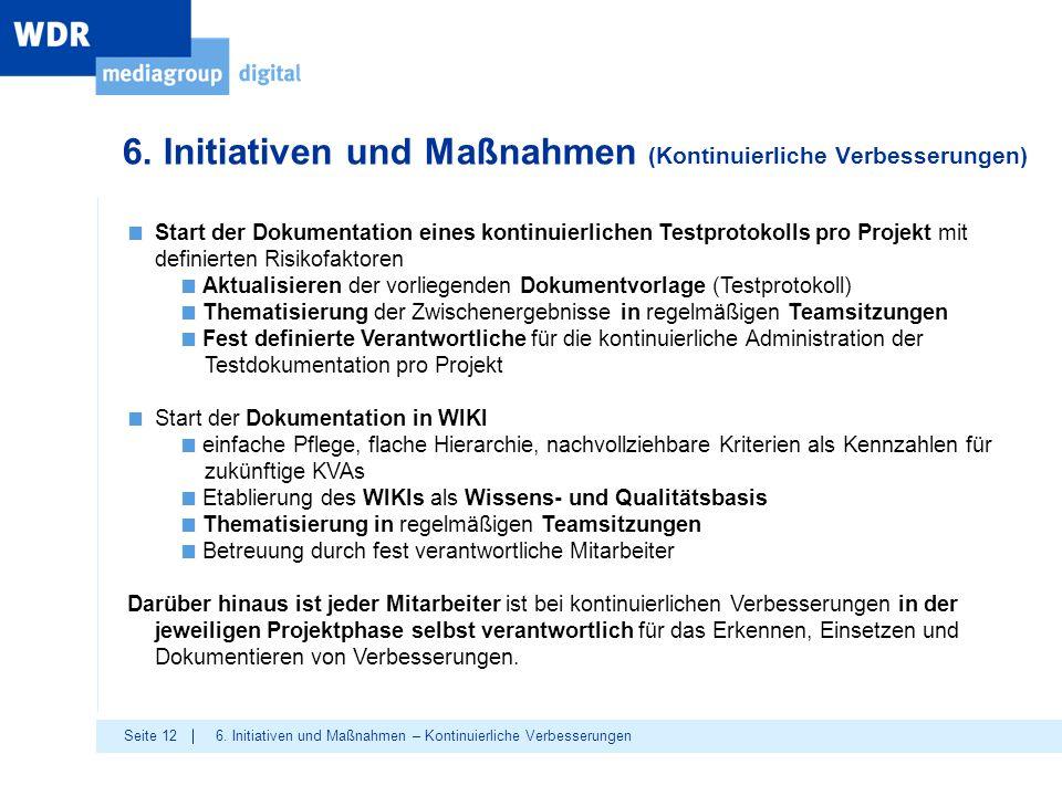 6. Initiativen und Maßnahmen (Kontinuierliche Verbesserungen)