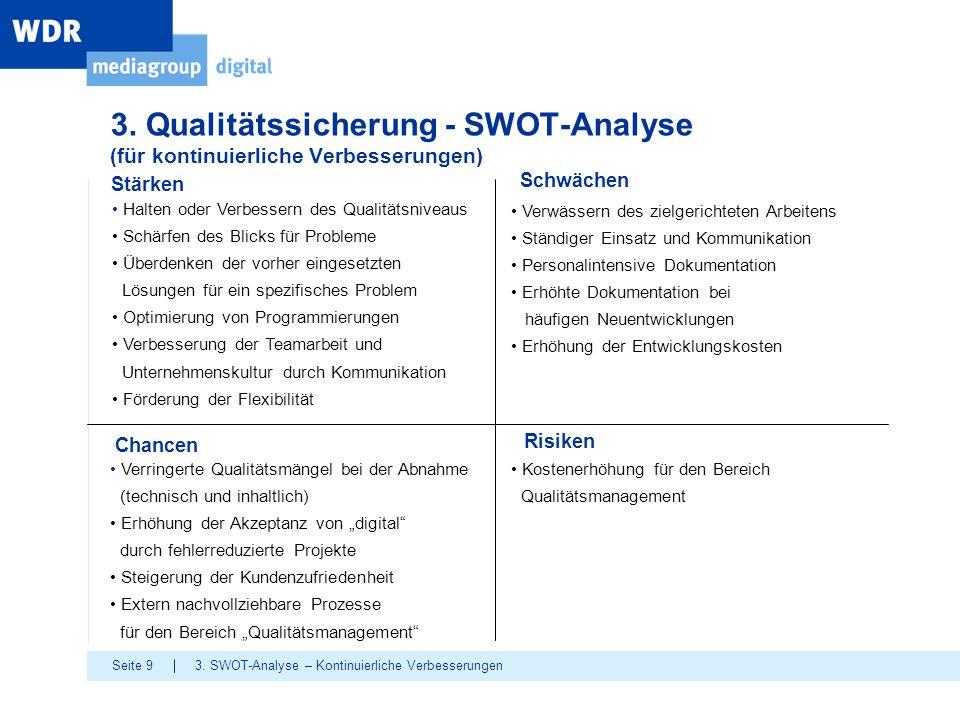 3. Qualitätssicherung - SWOT-Analyse (für kontinuierliche Verbesserungen)