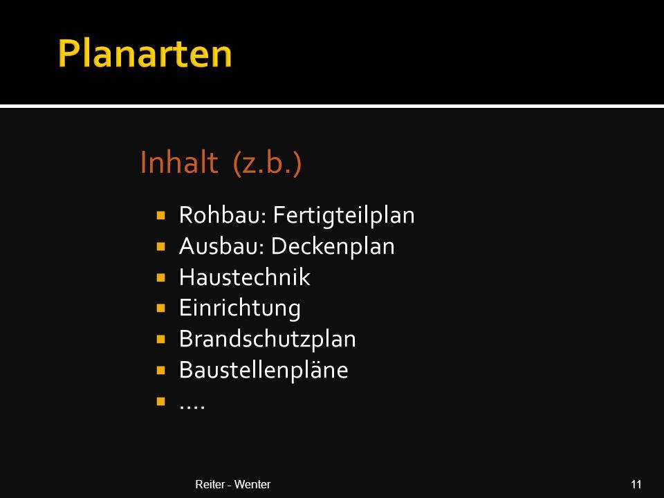 Planarten Inhalt (z.b.) Rohbau: Fertigteilplan Ausbau: Deckenplan