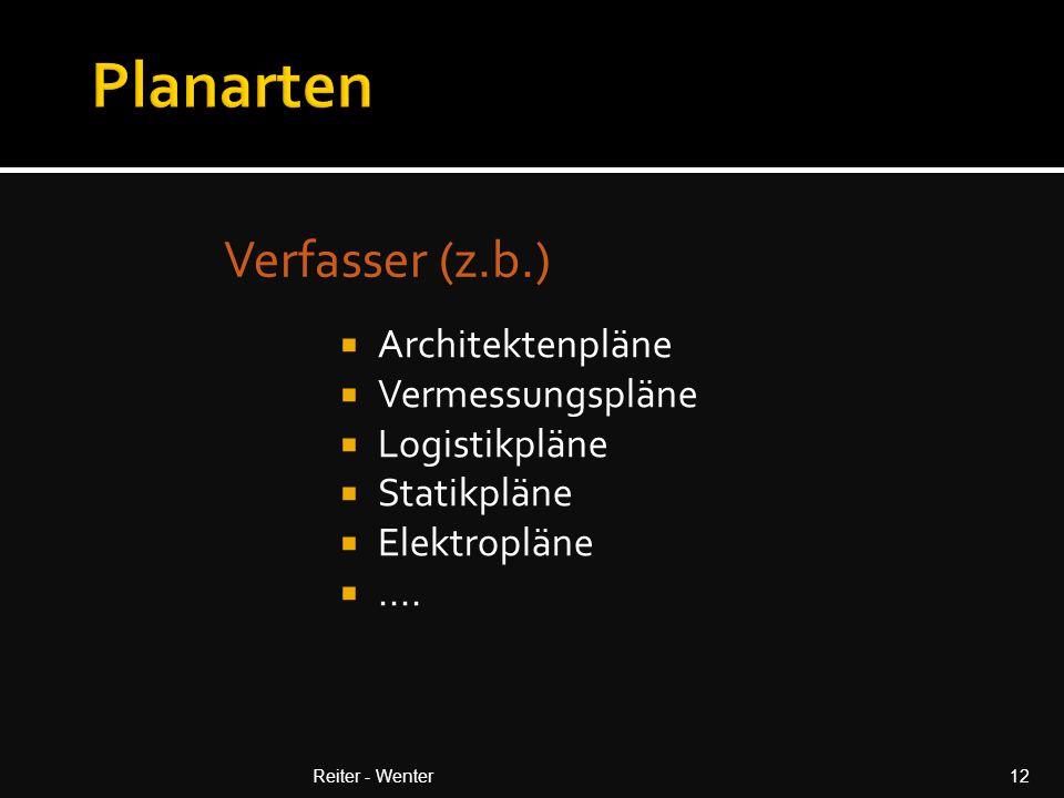 Planarten Verfasser (z.b.) Architektenpläne Vermessungspläne