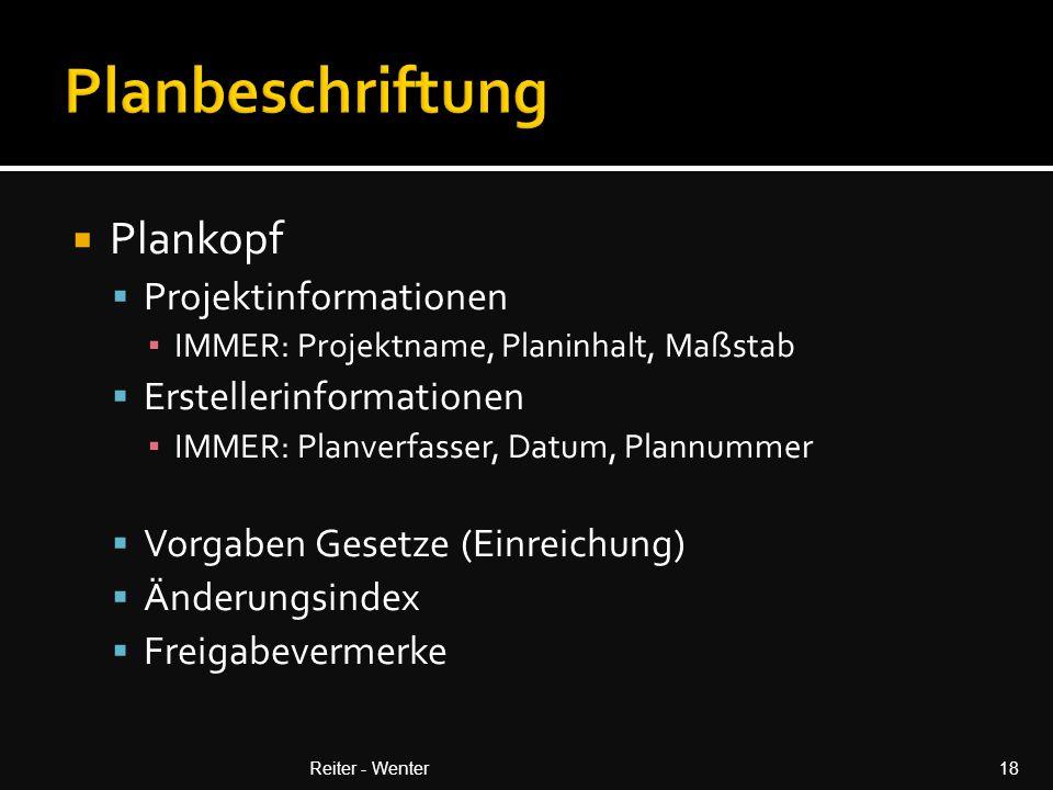 Planbeschriftung Plankopf Projektinformationen Erstellerinformationen