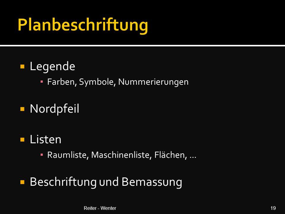 Planbeschriftung Legende Nordpfeil Listen Beschriftung und Bemassung