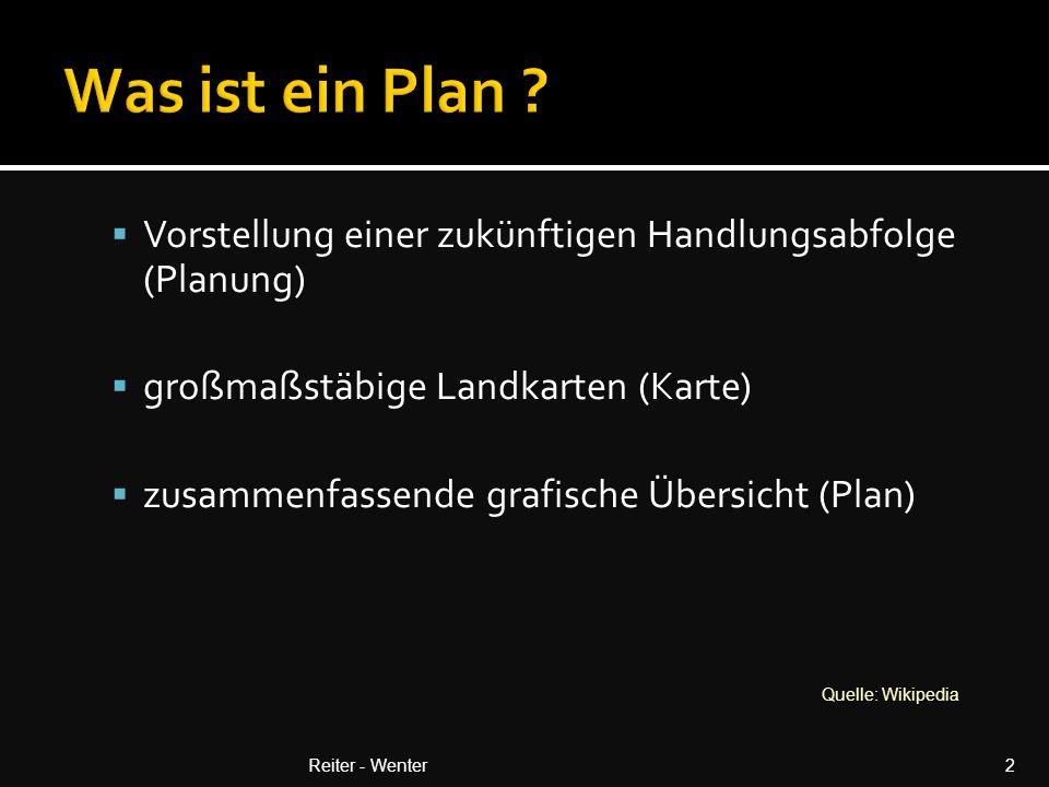 Was ist ein Plan Vorstellung einer zukünftigen Handlungsabfolge (Planung) großmaßstäbige Landkarten (Karte)
