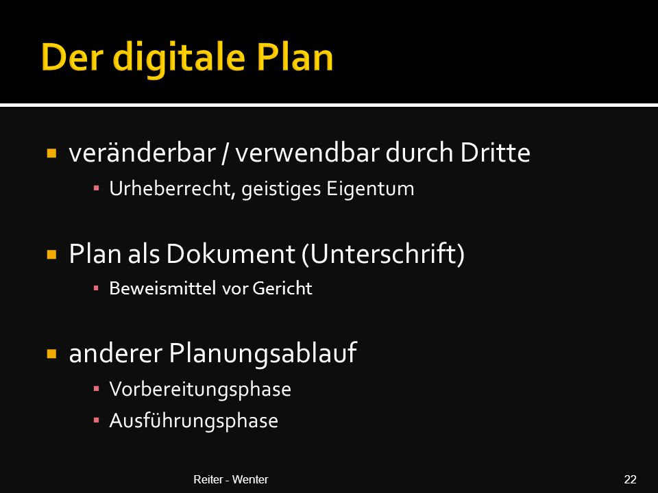 Der digitale Plan veränderbar / verwendbar durch Dritte