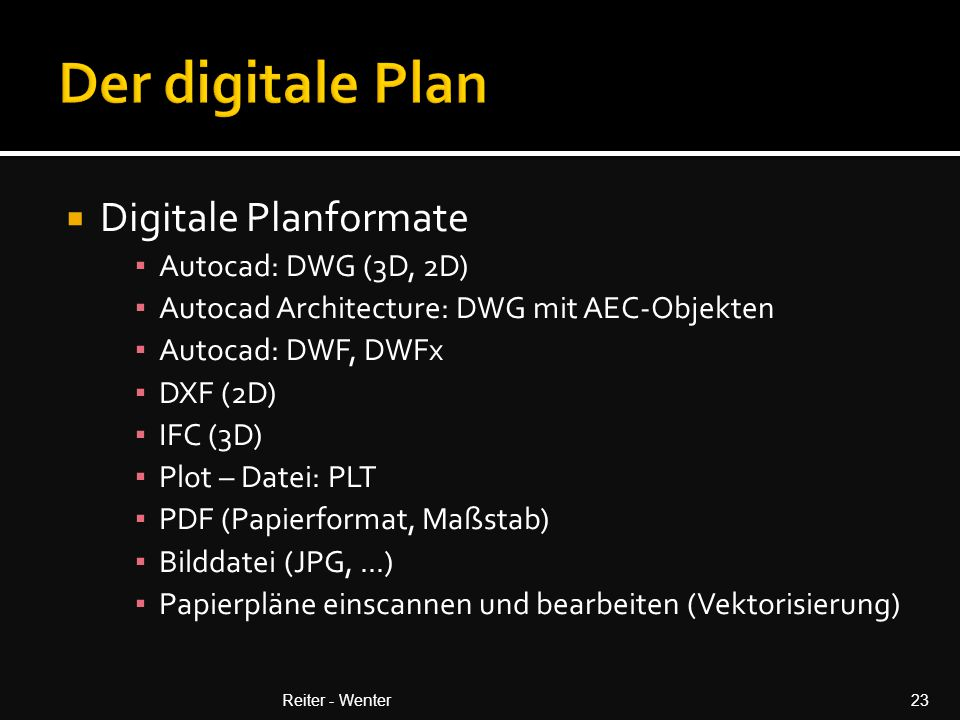 Der digitale Plan Digitale Planformate Autocad: DWG (3D, 2D)