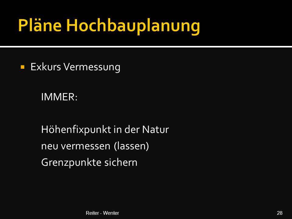 Pläne Hochbauplanung Exkurs Vermessung IMMER: