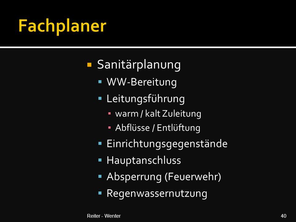 Fachplaner Sanitärplanung WW-Bereitung Leitungsführung
