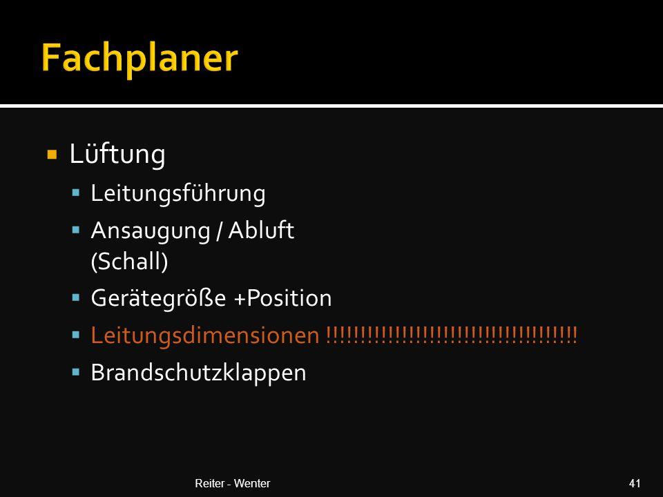 Fachplaner Lüftung Leitungsführung Ansaugung / Abluft (Schall)
