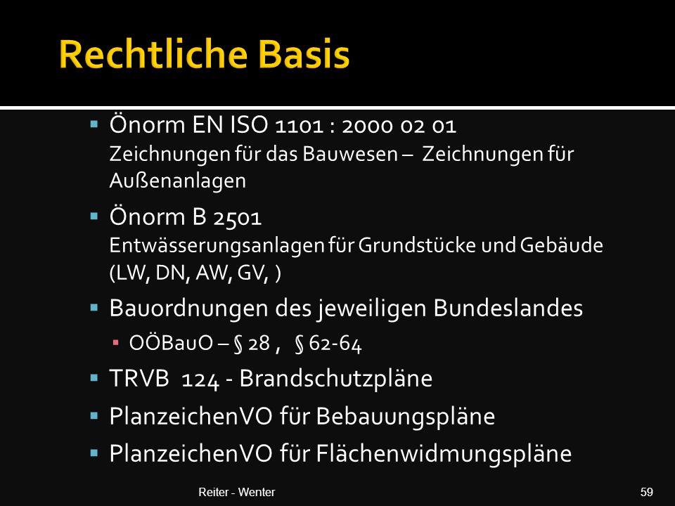 Rechtliche Basis Önorm EN ISO 1101 : 2000 02 01 Zeichnungen für das Bauwesen – Zeichnungen für Außenanlagen.