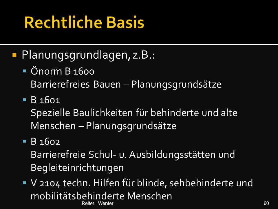 Rechtliche Basis Planungsgrundlagen, z.B.: