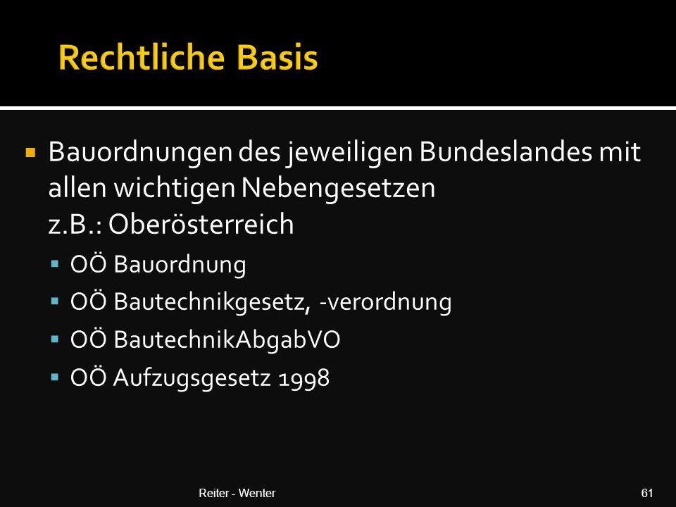 Rechtliche Basis Bauordnungen des jeweiligen Bundeslandes mit allen wichtigen Nebengesetzen z.B.: Oberösterreich.