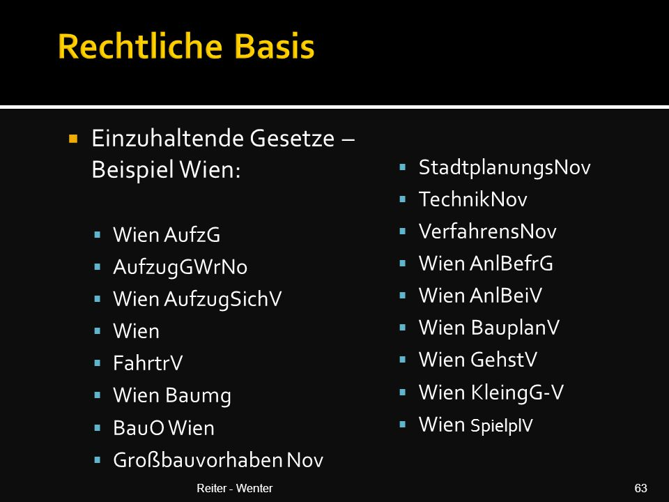 Rechtliche Basis Einzuhaltende Gesetze – Beispiel Wien: