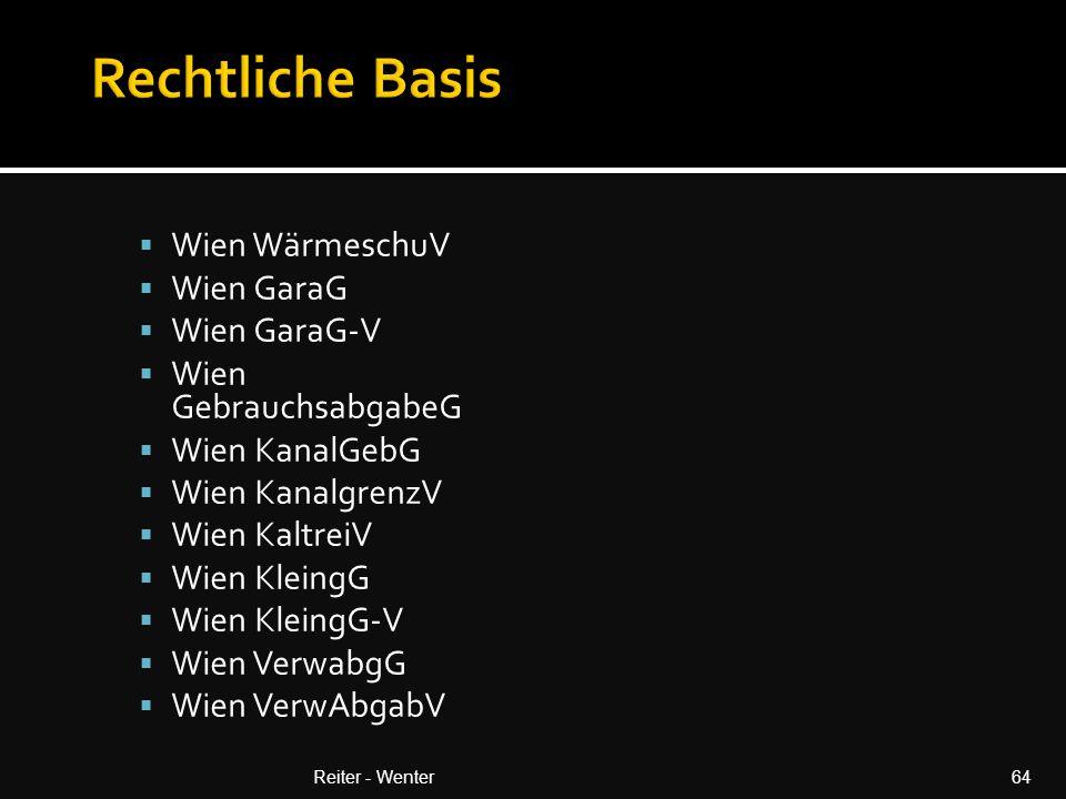 Rechtliche Basis Wien WärmeschuV Wien GaraG Wien GaraG-V