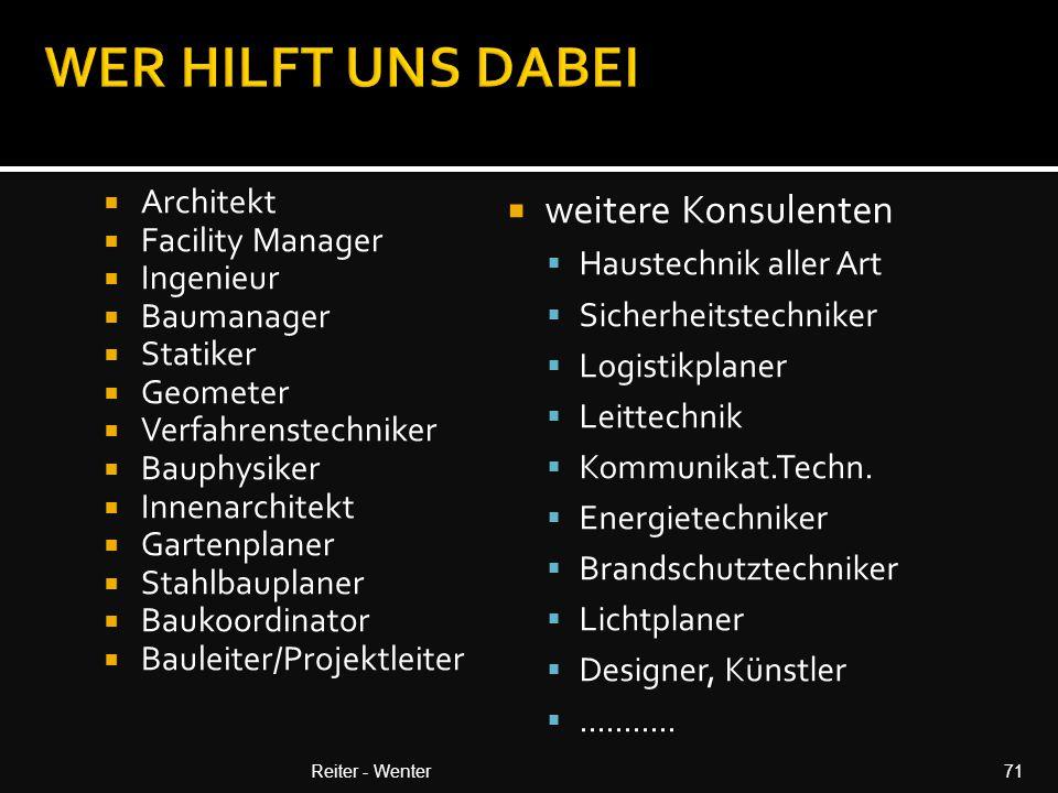 WER HILFT UNS DABEI weitere Konsulenten Architekt Facility Manager