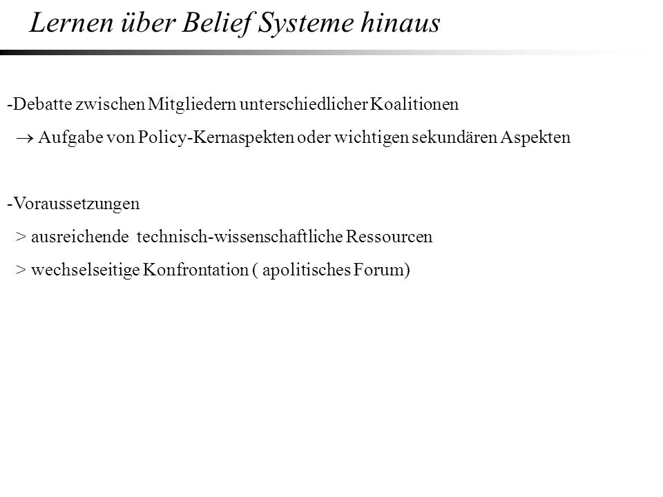 Lernen über Belief Systeme hinaus