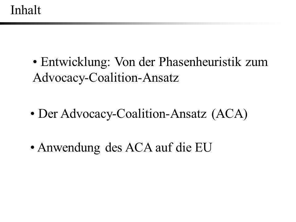 Inhalt • Entwicklung: Von der Phasenheuristik zum Advocacy-Coalition-Ansatz. • Der Advocacy-Coalition-Ansatz (ACA)
