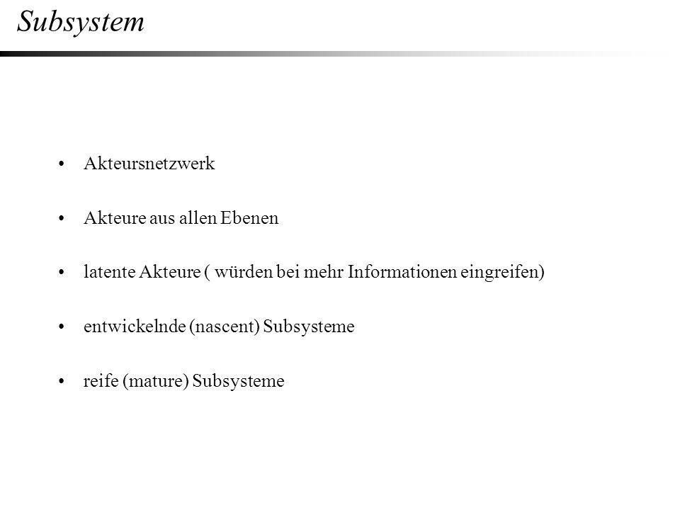 Subsystem Akteursnetzwerk Akteure aus allen Ebenen