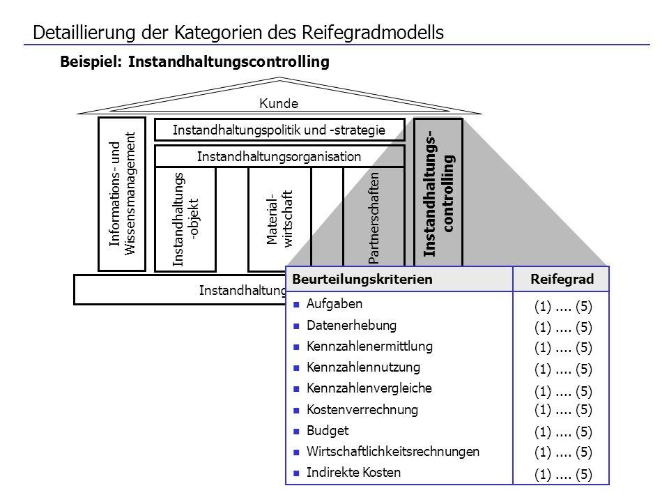Detaillierung der Kategorien des Reifegradmodells