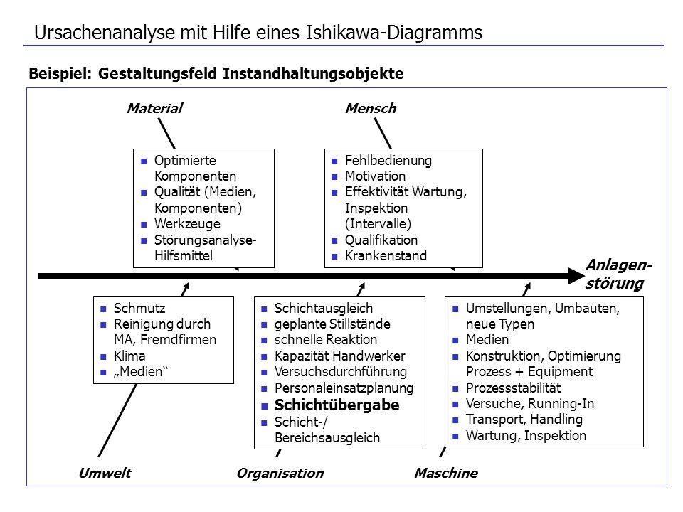 Ursachenanalyse mit Hilfe eines Ishikawa-Diagramms
