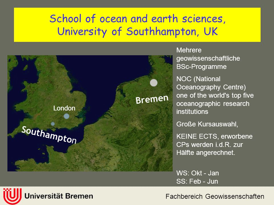 School of ocean and earth sciences, University of Southhampton, UK