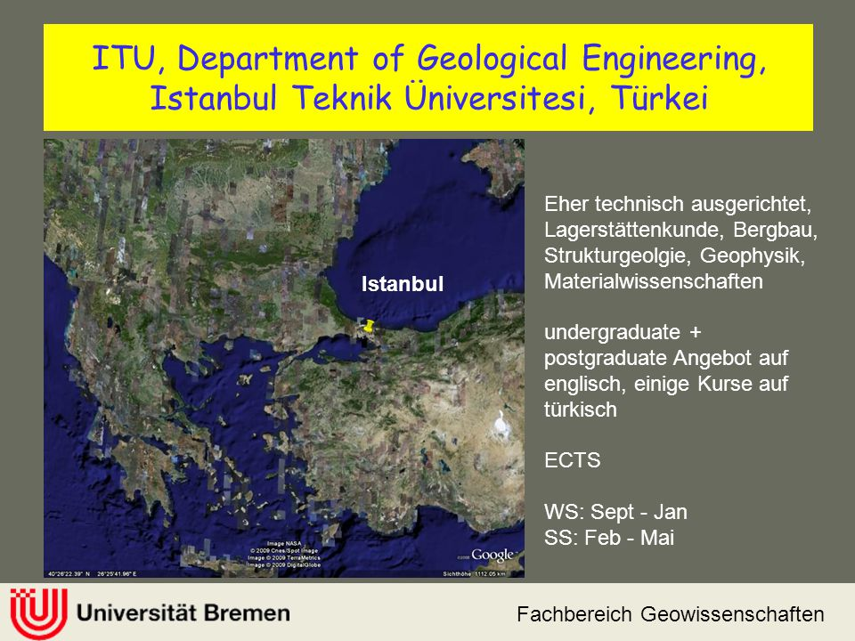 ITU, Department of Geological Engineering, Istanbul Teknik Üniversitesi, Türkei