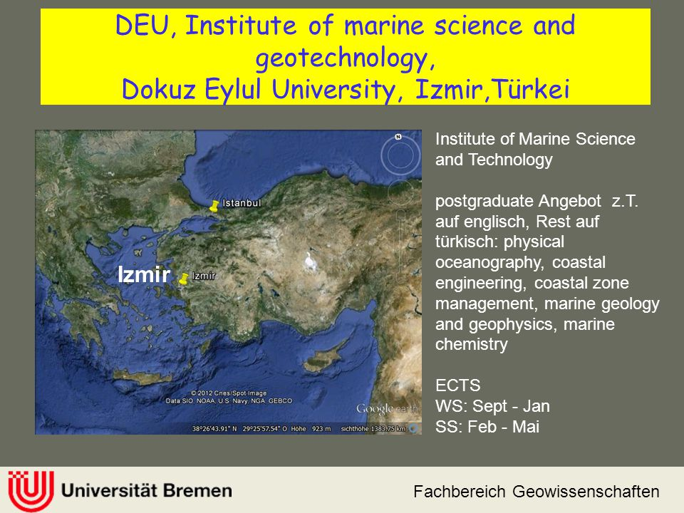 DEU, Institute of marine science and geotechnology, Dokuz Eylul University, Izmir,Türkei
