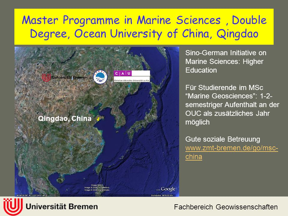 Master Programme in Marine Sciences , Double Degree, Ocean University of China, Qingdao
