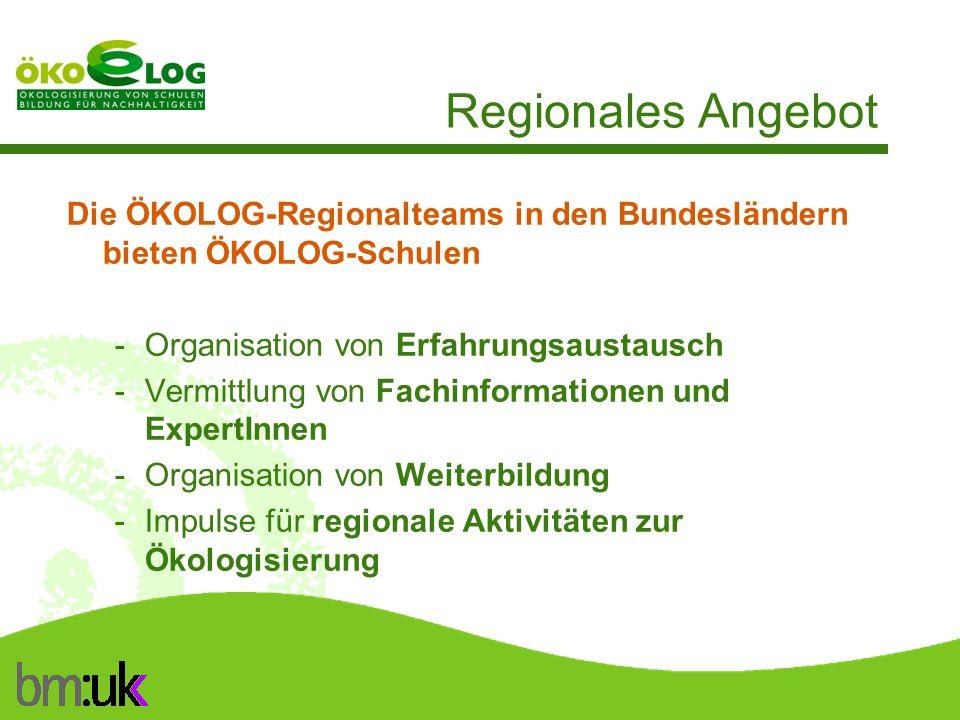 Regionales Angebot Die ÖKOLOG-Regionalteams in den Bundesländern bieten ÖKOLOG-Schulen. Organisation von Erfahrungsaustausch.