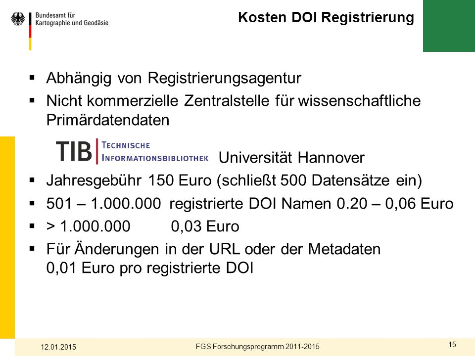 Kosten DOI Registrierung