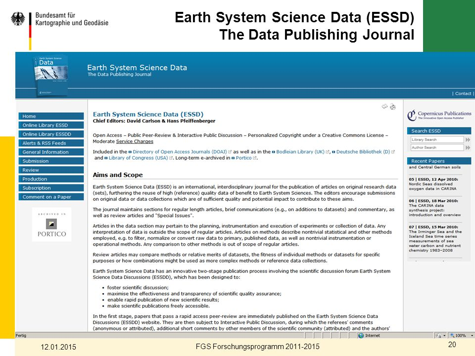 Earth System Science Data (ESSD) The Data Publishing Journal