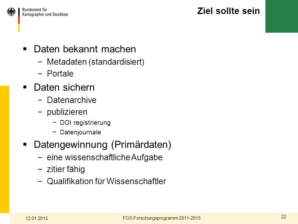 FGS Forschungsprogramm 2011-2015