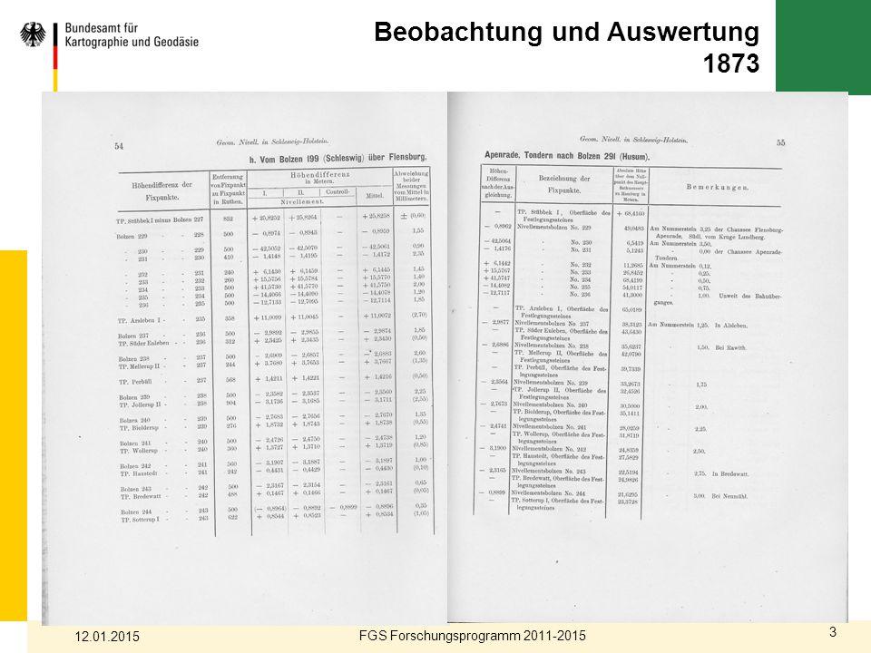 Beobachtung und Auswertung 1873