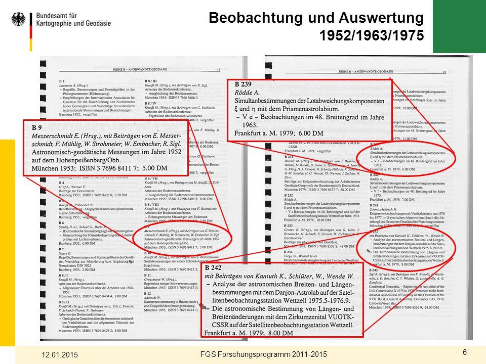 Beobachtung und Auswertung 1952/1963/1975